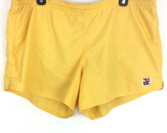 Vintage swim trunks yellow size XL short shorts swim trunks Newport blue label, vintage men's clothing Beach resort vacation pool party