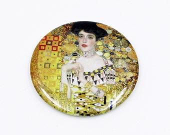 Art Nouveau Mirror with Slipcover: glossy, 2.25 inch, Gustav Klimt pocket mirror - Valentine's Day gift, purse mirror, or travel accessory