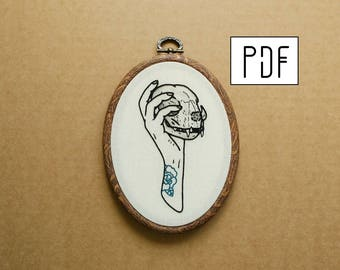 Tattooed Hand with Cat Skull Hand Embroidery Pattern (PDF modern embroidery pattern)
