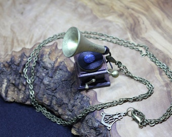 Antique style Gramophone pentant Necklace. Hand made, upcycled, Dolls house miniature.