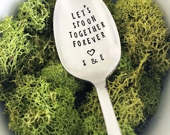 Let's Spoon Together Forever with Initials & Heart, Hand Stamped Spoon, Anniversary Spoon, Love, Valentine's Day, Birthday, Gift, Present