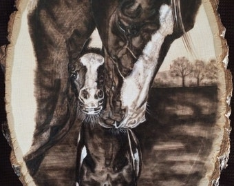Handmade Wood Burning Artwork of a Mare and Foal