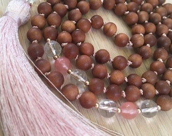 Sandalwood & Quartz Mala, Cherry Quartz, rose gold, yoga jewelry, spiritual jewelry, gemstone mala, mala necklace, mala beads, prayer beads