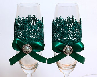 Wedding Glasses, Emerald Wedding, Champagne Glasses, Wedding Decor, Emerald Wedding Flutes