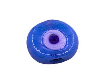 10 pcs Light Blue Evil Eye Glass Bead |Light Blue Evil Eye Round Beads,Lampwork Evil Eye Beads,Artisan Handmade Evil Eye Charms,Big Evil Eye