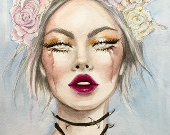 Roses and Thorns Flower Child Original Watercolor and Acrylic Fashion Illustration Painting