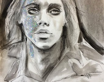 Original Mixed Media Portrait Painting Inspired by Iggy Pop