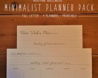 Minimalist Planner Pack - Minimalist - Productivity - Weekly Planner - Daily Planner - Health Planner - Healthy Habits - Meal Planner