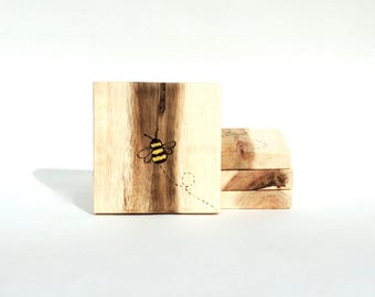 Wooden Drinks Coasters - Coasters, Drink Coasters, Rustic Coasters, Wooden Coasters, Coasters for drinks, Bumble Bee Gift, Pyrography,Rustic