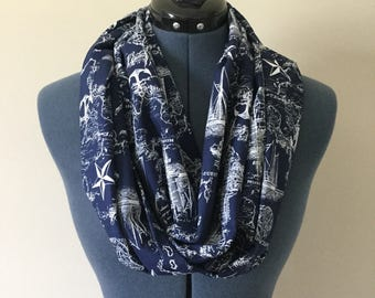 Nautical Map Infinity Scarf / Anchor / Scarf / Nautical / Nautical Star / Ocean / Sea / Infinity Scarf / Navy Blue / Map / Ocean Map / Quest