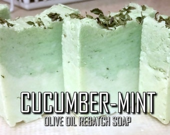 Cucumber-Mint Rebatch Soap   Pure Vegan Fresh/Herbal-Scented 100% Sustainable Palm/Olive Oil Glycerin Rustic Soap with Dried Peppermint