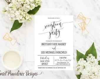 Reception Party Invitation /Printable Reception Party Invite Set/ Wedding Invitation / Rehearsal Invitation
