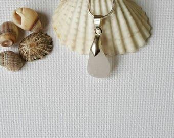 Clear, sea glass necklace, Sea glass, seaglass necklace, Seaglass jewelry, sea glass, beach glass jewelry, beach glass, Droplet shape