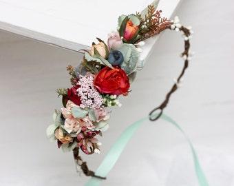 Mint orange floral crown Flower headpiece Wedding hair wreath Bridal halo Girl flower crown Bridesmaid headband Winter wedding