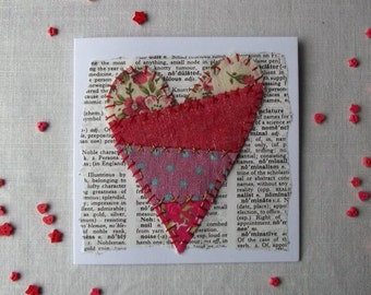 Heart Greetings Card - Handmade, Love, Patchwork, Mixed Media, OOAK