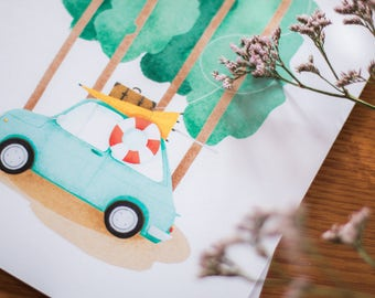 Illustrated flyer A4 - car vintage & Beach