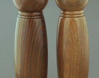"""10"""" Lignum Vitae Wood Pepper and Salt Mill Set"""