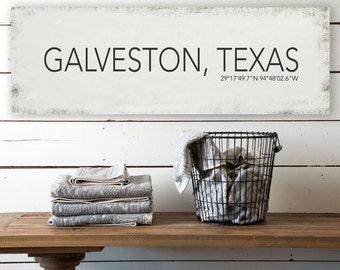 Galveston Texas Wall Canvas, Galveston Vintage City Canvas, Printed on Canvas, Vintage Wall Decor, Vintage Wall Art