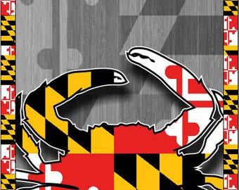 Baltimore Wood Crab Flag Cornhole Wrap Bag Toss Decal Baggo Skin Sticker Wraps
