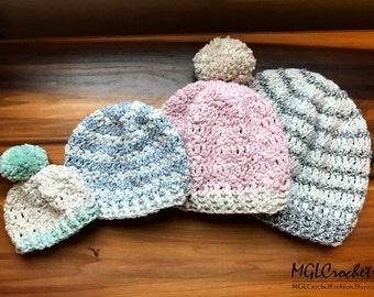 PATTERN Iris Beanie | Easy Crochet Pattern | Beginner Tutorial | Adult, Child/Toddler, Baby, Newborn Sizes | PDF Pattern