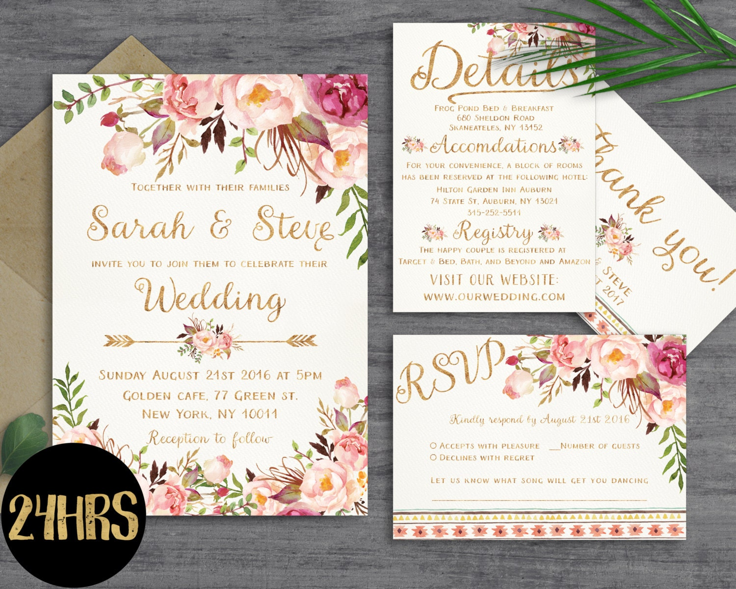 floral wedding invitation template wedding invitation