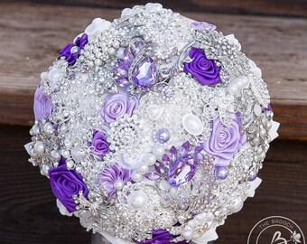 Purple brooch bouquet, brooch wedding bouquet, brooch bridal bouquet, purple wedding bouquet, brooch bouquet with roses, brooch flowers