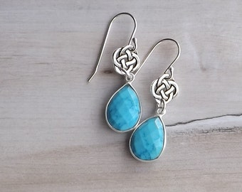 Turquoise Celtic earrings / Long turquoise and Celtic knot silver earrings / Silver Celtic earrings