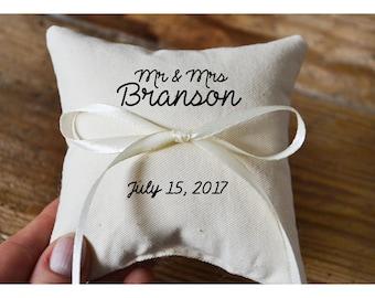 Mr & Mrs pillow, Personalized Ring bearer pillow, Wedding ring pillow , wedding pillow ,ring holder , ring bearer pillow,custom pillow (R66)