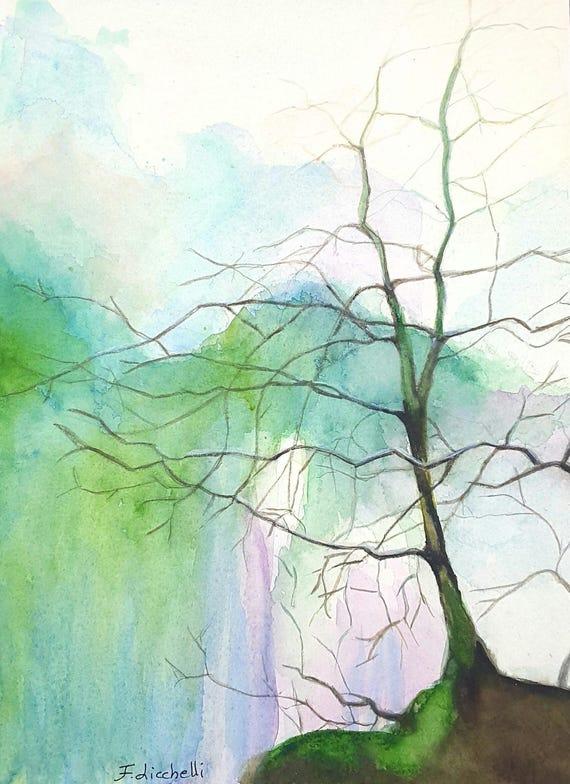 Tree,copy,blue,purple,watercolor,ooak,23x31 cm./9x12 inc,gift idea, wall art, home decoration, lounge,nursery,living,bedroom,watercolor art.