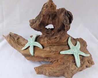 New Forest Driftwood Ornament with Handmade Clay Starfish, Sea, Beach, Coastal theme - Home and Beach Hut Decor