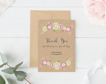 Floral Thank You Card, Rustic Thank You Card, Boho Wedding, Spring Wedding, Wedding Thank You Card, Wedding Thank You Gift, Thank You Card
