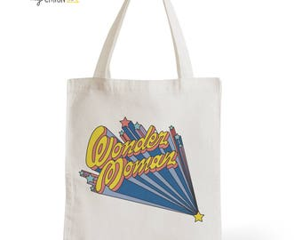 Bag Tote Bag Wonder Moman, gift for him, mother's day, typography, statement, quote, movies