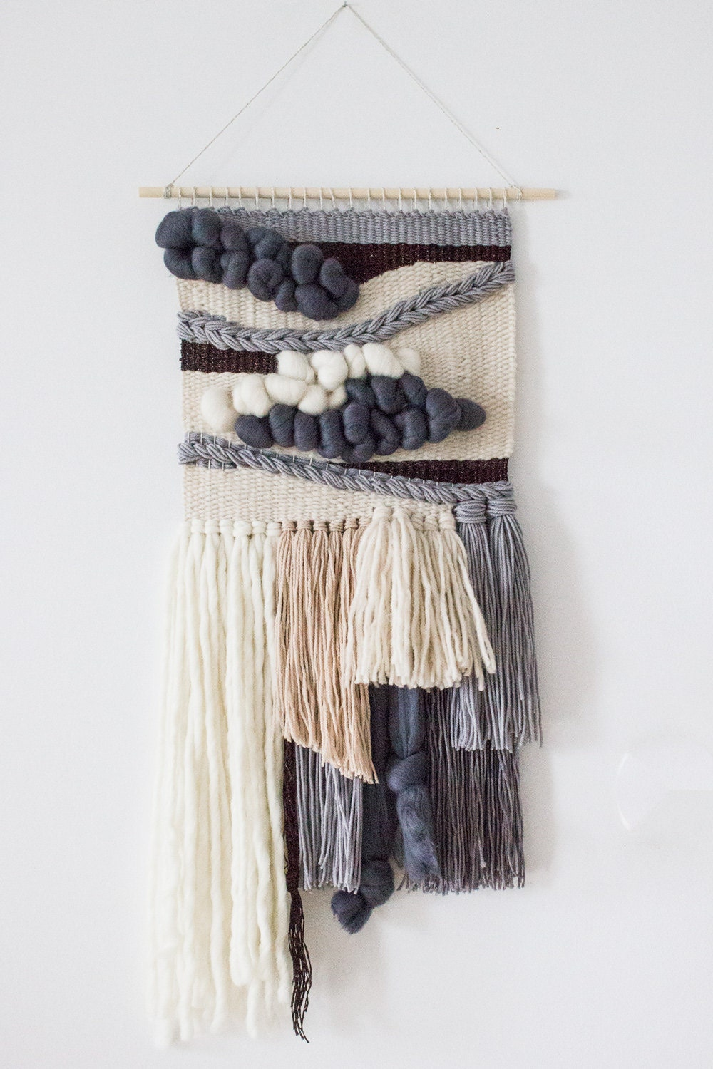 Woven Wall Hanging Grey Wall Tapestry Wall Hanging
