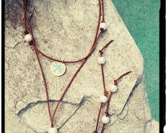 Freshwater Pearls & Leather Lariat Necklace - Aqua Patina and Gold Dragonfly Charm//Long Leather Necklace//Double Wrap Choker//Boho - Gift