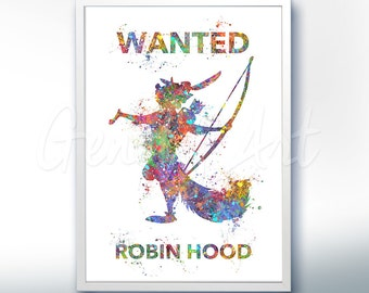 Disney Robin Hood Watercolor Poster Print - Wall Decor - Watercolor Painting - Watercolor Art - Kids Decor- Nursery Decor