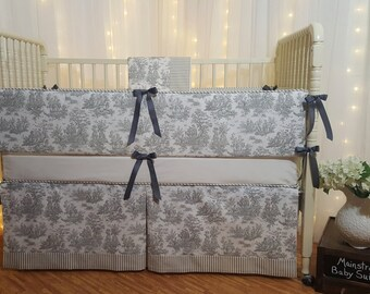 Elite Toile Crib Bedding Set, Super Chic & Trendy, Designer Grade Quality in Many Color Options!