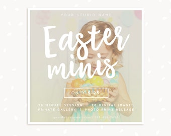 Easter Mini Sessions Template, Easter Mini Session, Easter Marketing Board, Easter Template, Photography Marketing, Spring, Hand lettering