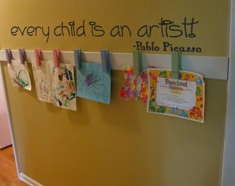 Every Child Is an Artist Pablo Picasso Wall Quotes Kids Art Quotes Every Child Is An Artist Vinyl Wall Decals Wall Art Murals Wall Stickers