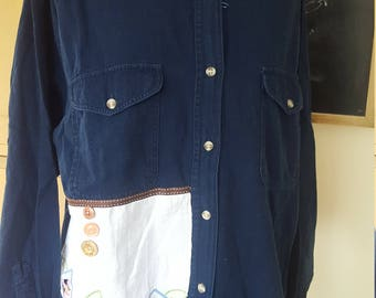 Woman's Up Cycled Shirt with Lace Detail
