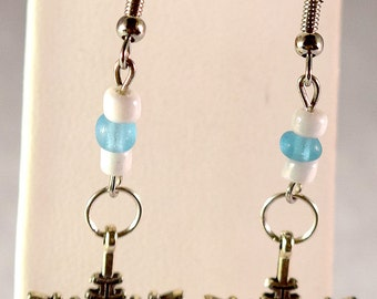 Frozen Earrings - Geeky Jewelry - Geeky Earrings - Snowflake - White - Frost Blue - Ice - Ear Wire Earrings - Beads  - Gifts for Her