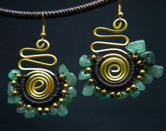 Bronze Carved Wire Charm Drop I Green Turquoise Chips Gold Beaded Earrings Handmade Jewelry Brass Hook