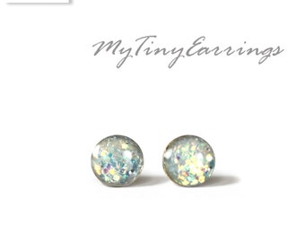 3mm Grey Sparkly Petite Stud Earrings Mini Tiny Shimmery - Gold Plated Brass Posts plus High Quality Epoxy Resin N165