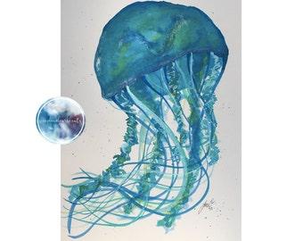 ORIGINAL Watercolour Jellyfish