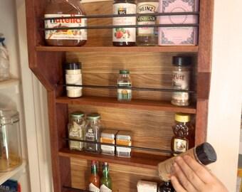Hanging Handmade Wooden Spice Rack - storage shelf, kitchen, organizer, closet, pantry, spice, wooden shelf, wood, made in the USA