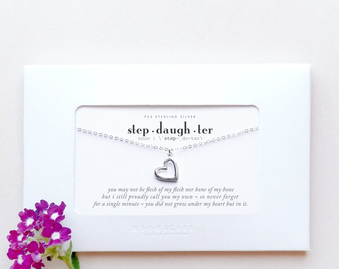 Stepdaughter |Gift From Stepmother to Step Daughter Sterling Silver Heart Necklace Poem Quote Message Wedding Engagement Birthday Graduation
