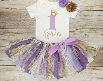 Purple/Lavender and Gold Princess Birthday Outfit with Headband, Purple Gold Princess First Birthday, Lavender and Gold Fabric Tutu