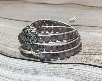 Chan Luu Style Bracelet, Purple Wrap Bracelet, Beaded Wrap Bracelet
