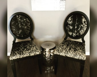 Pair of Genuine Cowhide Oval Back Chairs, Accent Chairs, Dining Chairs