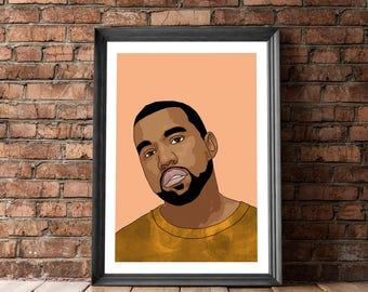 Kanye West Poster, Music Poster, Kanye West Portrait, Posters and Prints, Poster Kanye West, Kanye Wall Decor, Kanye West Portrait, Hip Hop