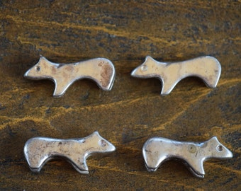 Bear Animal Fetish Beads - Sterling Silver 925 - Set of 4 Beads - Craft Supply